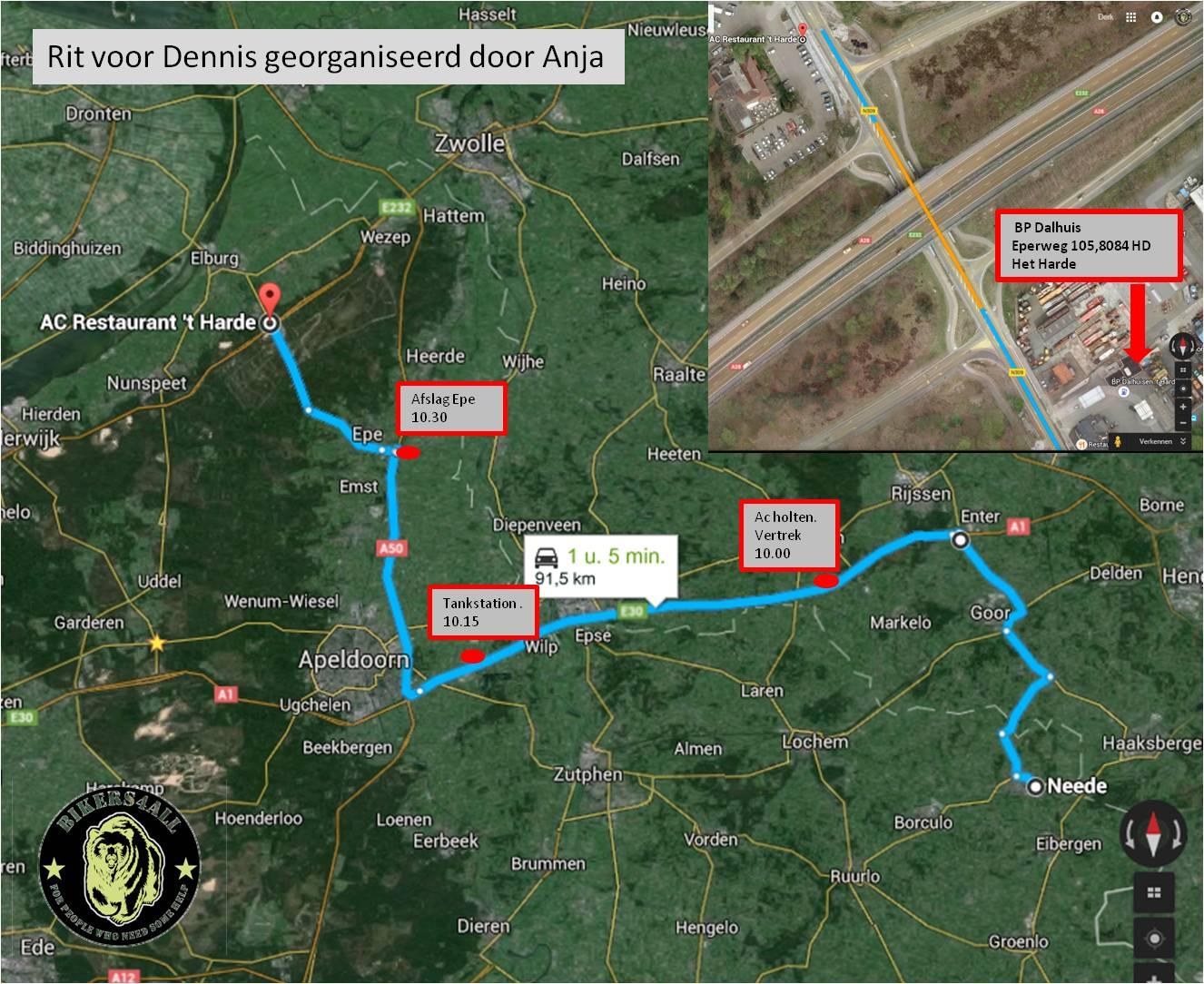 aanrij route Rit voor Dennis